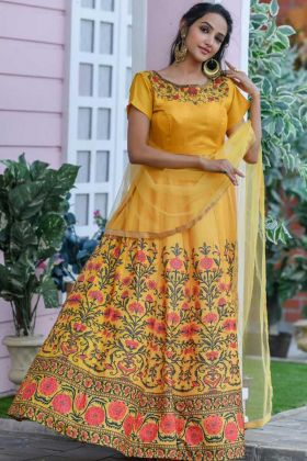 Yellow Color Pretty Dress In Chennai Silk For Special Haldi Rasam