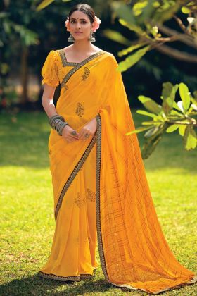 Yellow Color Print Design Georgette Saree For Function
