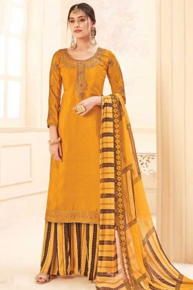 Yellow Color Pure Crepe Party Wear Plazzo Suit