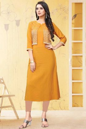 Yellow Color Rayon Flex Readymade Kurti