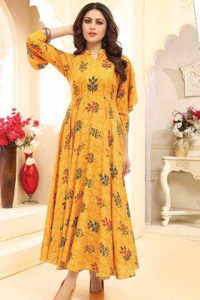 Yellow Color Rayon Printed Gown Design For Girls