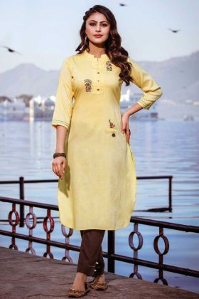 Yellow Color Reyon Kurti With Brown Bottom Online