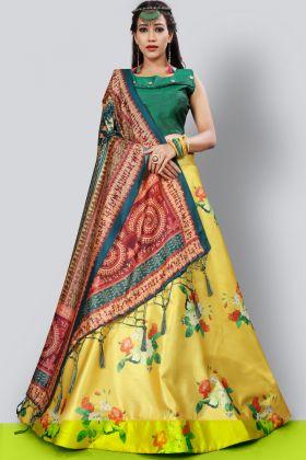 Yellow Color Satin Silk Digital Printed Lehenga Choli