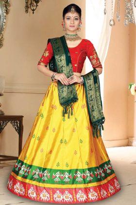 Yellow Color Satin Silk Lehenga With Bandhani Silk Dupatta