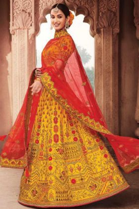 Yellow Color Silk Fabric Heavy Designer Bridal Lehenga Choli For Wedding