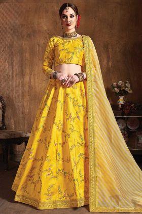 Yellow Color Wedding Embroidery Designer Lehenga For Haldi