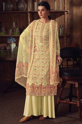 Yellow Color Wool Pashmina Kashmiri Plazzo Suit