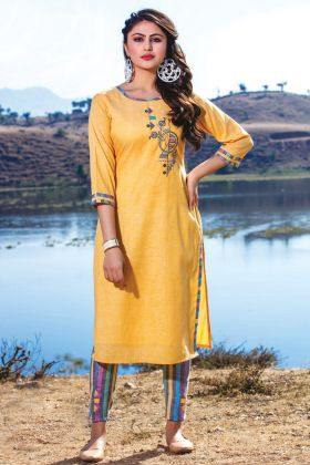 Yellow Cotton Linen Designer Casual Kurti With Bottom