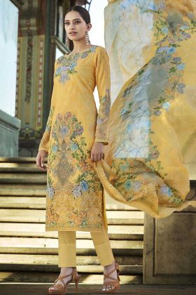 Yellow Cotton New Collection Of Digital Printed Palazzo Suit