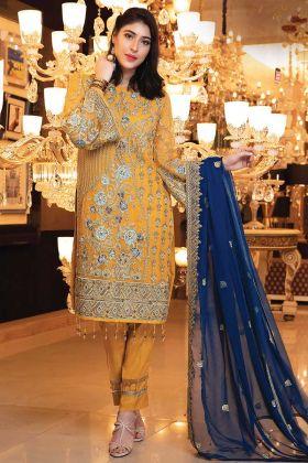 Yellow Designer Pakistani Style Bridal Wear Suit