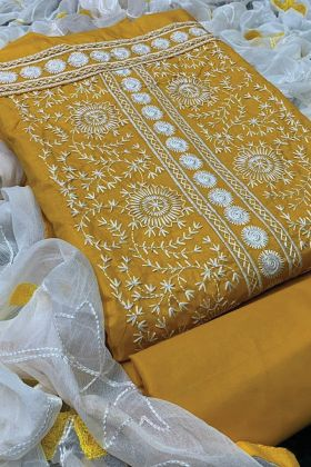 Yellow Embroidered PC Cotton Dress Material For Woman