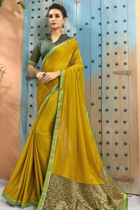 Yellow Georgette Saree With Jacquard Short Pallu