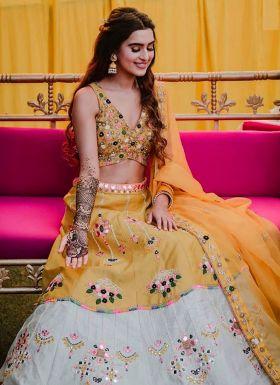 Yellow Haldi Wear Embroidered Lehenga Choli