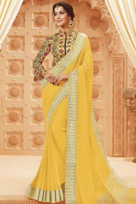Yellow Lace Border Satin Silk Saree For Festival