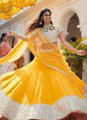 Yellow Zari Embroidered Haldi Wear Lehenga Choli