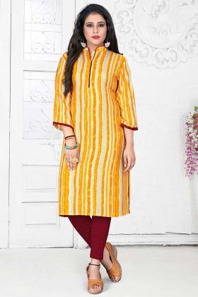 Yellow and Cream Color Rayon Kurti With Printed Work