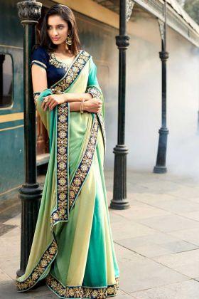 Yellow And Green Colour Jacquard Festive Saree