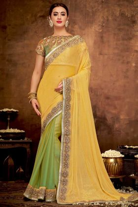 Yellow and Green Georgette Wedding Saree With Zari Embroidery Work