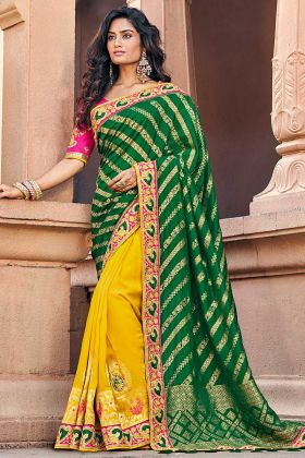 Yellow And Green Wedding Saree In Embroidered Work Border