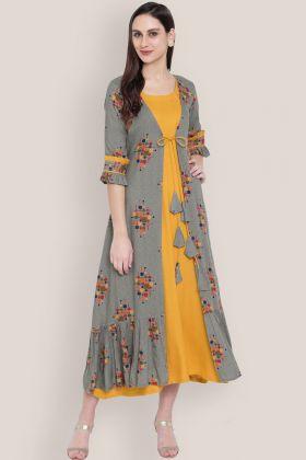 Yellow and Grey Rayon Jacket Style Kurti Online