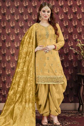 Yellow Art Silk Punjabi Salwar Suit