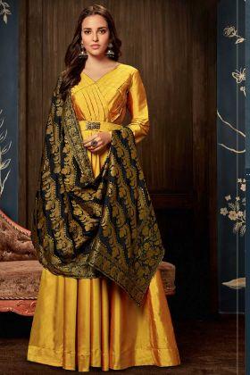 Yellow Art Silk Wedding Gown