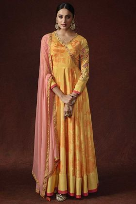 Yellow Color Anarkali Evening Gown Silk Crepe And Banglori Silk