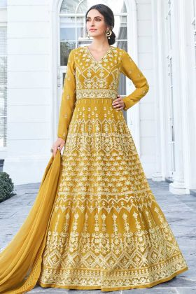 Yellow Color Apple Georgette Anarkali Salwar Suit With Embroidery Work