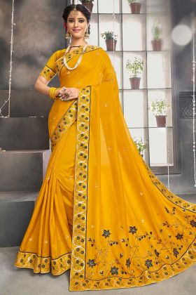 Yellow Color Chanderi Silk Saree With Embroidery Work