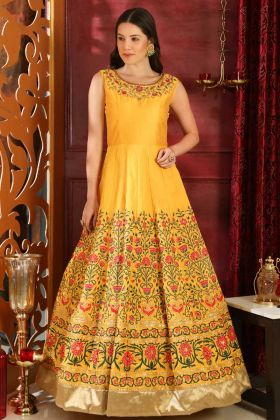 Yellow Color Designer Gown Silk Fabric