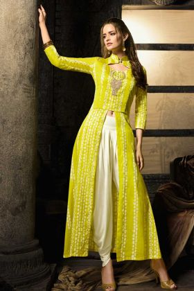 Yellow Color Embroidery Cotton Satin Indo Western Kurti