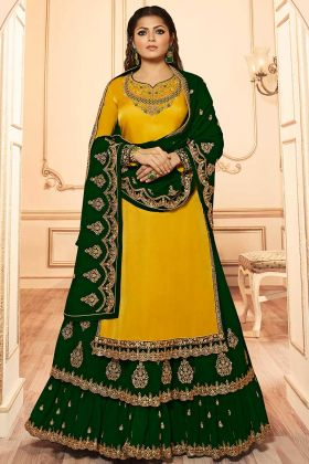 Yellow Color Georgette Indo Western Dress With Embroidery Work