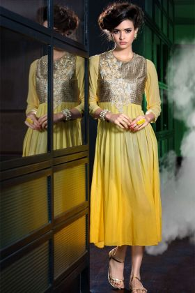 Yellow Color Georgette Kurti Online