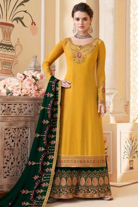 Yellow Color Georgette Pakistani Dress With Embroidery Work