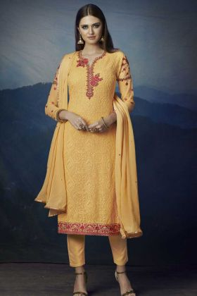 Yellow Color Georgette Pant Style Dress With Aari Work