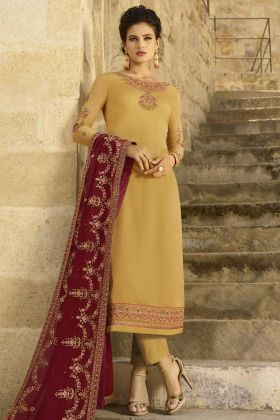 Yellow Color Georgette Satin Pant Style Dress With Embroidery Work