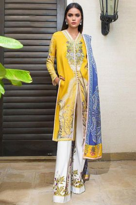 Yellow Color Heavy Cotton Pakistani Salwar Suit With Embroidery Work