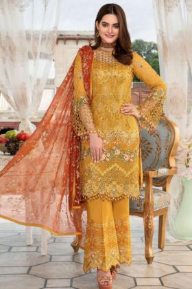 Yellow Color Heavy Net Pakistani Salwar Suit With Embroidery Work