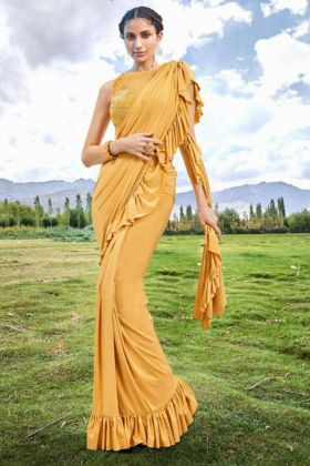 Yellow Color Imported Fabric Designer Ruffle Saree With Embroidery Work
