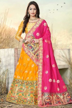 Yellow Color Jacquard Work Banarasi Silk Jacquard Festival Lehenga Choli