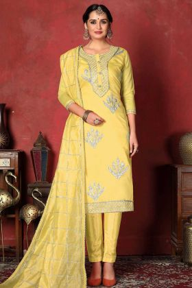 Yellow Color Modal Cotton Suit Neck Design