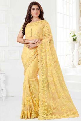 Yellow Color Net Designer Saree