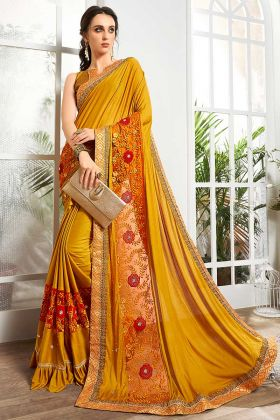 Yellow Color Net Party Wear Saree With Work