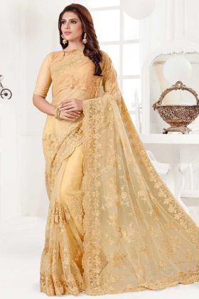 Yellow Color Net Saree With Resham Embroidery Work