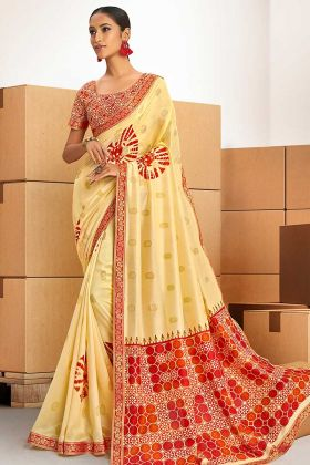 Yellow Color Printed Chanderi Silk New Saree Design