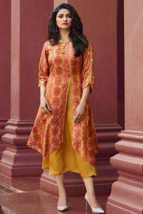 Yellow Color Printed Kurti Online