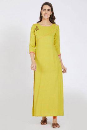 Yellow Color Rayon Kurti Design