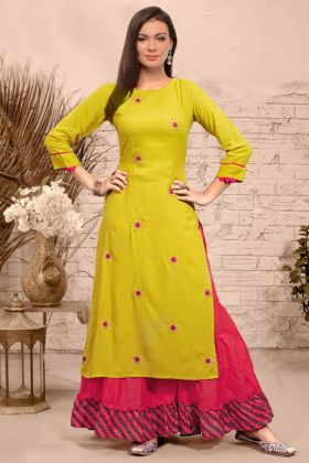 Yellow Color Rayon Sharara Dress With Embroidery Work
