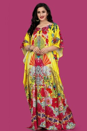 Yellow Color Satin Kaftaan Pakistani Kurti