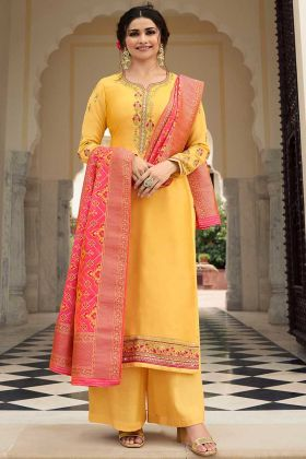 Yellow Color Satin Palazzo Dress With Banaras Dupatta